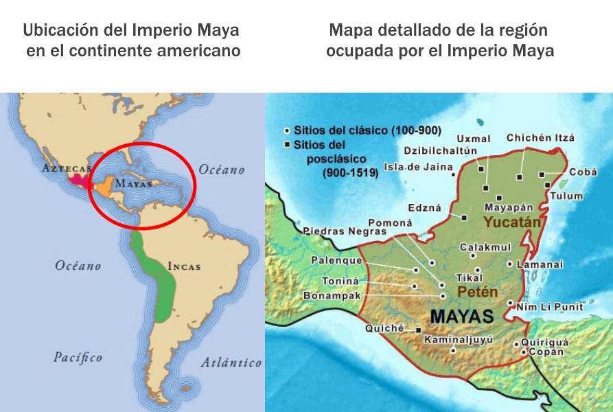 Mapa con los territorios de los mayas