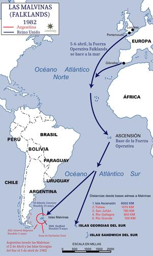 Mapa de la guerra de las malvinas