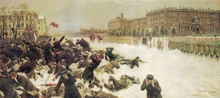 La Guardia Imperial Rusa inicio fuego contra un grupo de manifestantes pacíficos en 1905