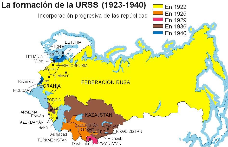 Mapa de la URSS (1923 a 1940)