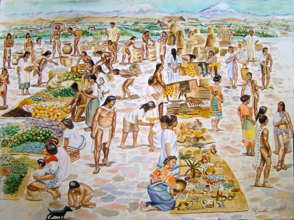 Ilustración representativa de un mercado maya