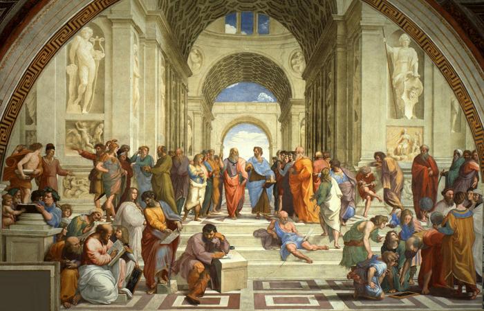 Pintura sobre Filósofos de la Antigua Grecia
