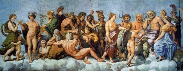 Pintura sobre los dioses del olimpo, los doce olímpicos, reciben a Psique (1518-19, de Rafael).