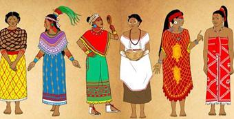 Ilustración de como se vestían las mujeres Mayas